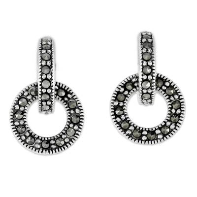 Marcasite drop earrings, 'Bold Connection' - Marcasite and Sterling Silver Drop Earrings from Thailand