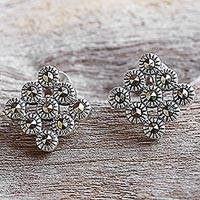 Marcasite button earrings, 'Looking Good' - Marcasite and Sterling Silver Button Earrings from Thailand