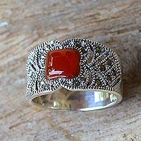 Chalcedony and marcasite single stone ring, 'Deep Orange'
