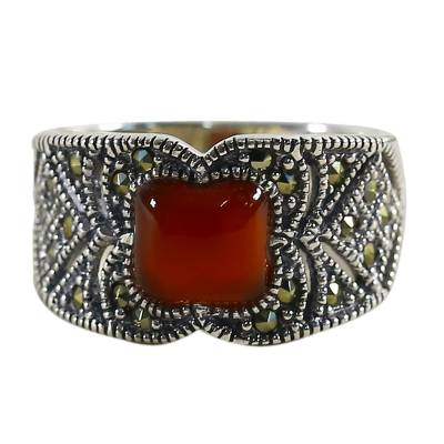 Chalcedony and marcasite single stone ring, 'Deep Orange' - Chalcedony and Marcasite Single Stone Ring from Thailand