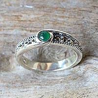 Onyx and marcasite solitaire ring, 'Green Nova' - Green Onyx and Marcasite Solitaire Ring from Thailand