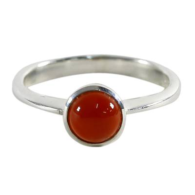 Chalcedony solitaire ring, 'Orange Sunset Glow' - Chalcedony and Sterling Silver Solitaire Ring from Thailand