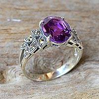 Amethyst and marcasite cocktail ring, 'Purple Queen'