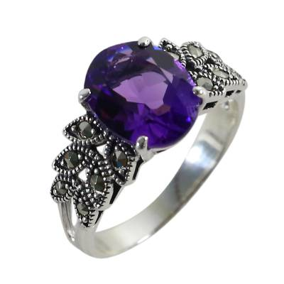 Amethyst and marcasite cocktail ring, 'Purple Queen' - Amethyst and Marcasite Cocktail Ring from Thailand