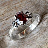 Garnet single-stone ring, 'Believe in Love'