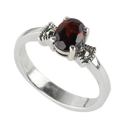 Garnet single-stone ring, 'Believe in Love' - Garnet and Sterling Silver Single Stone Ring from Thailand