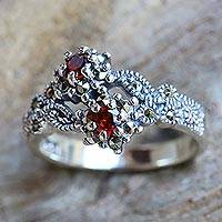 Garnet and marcasite band ring, 'Baby Roses'