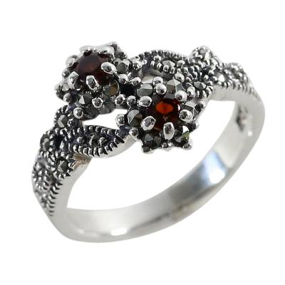 Garnet and marcasite band ring, 'Baby Roses' - 925 Silver Jewelry Garnet and Marcasite Ring from Thailand