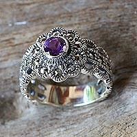Amethyst and marcasite cocktail ring, 'Glistening Daisy'