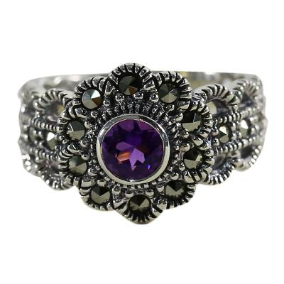 Amethyst and marcasite cocktail ring, 'Glistening Daisy' - Amethyst and Marcasite Cocktail Ring from Thailand