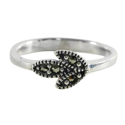 Marcasite cocktail ring, 'Simple Leaf' - Sterling Silver and Marcasite Cocktail Ring Leaf Thailand