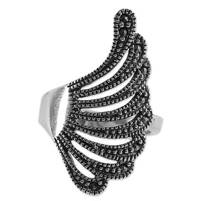 Marcasite cocktail ring, 'Plumed Wing' - Sterling Silver Marcasite Cocktail Ring Wing Thailand