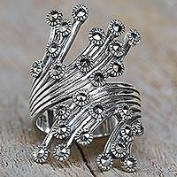 Marcasite cocktail ring, 'Meteor Warp' - Sterling Silver Marcasite Cocktail Ring from Thailand