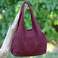 Cotton shoulder bag, 'Thai Texture in Wine' - 100% Cotton Textured Shoulder Bag in Wine from Thailand