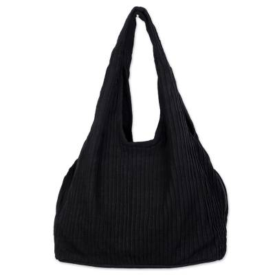 100% Cotton Textured Shoulder Bag in Black from Thailand