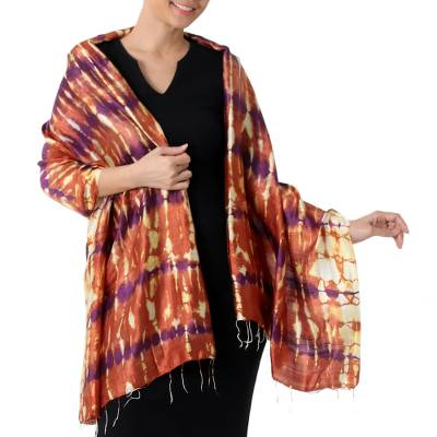Silk shawl, 'River Sands' - Hand Woven Tie Dye Silk Shawl in Pumpkin and Purple Thailand