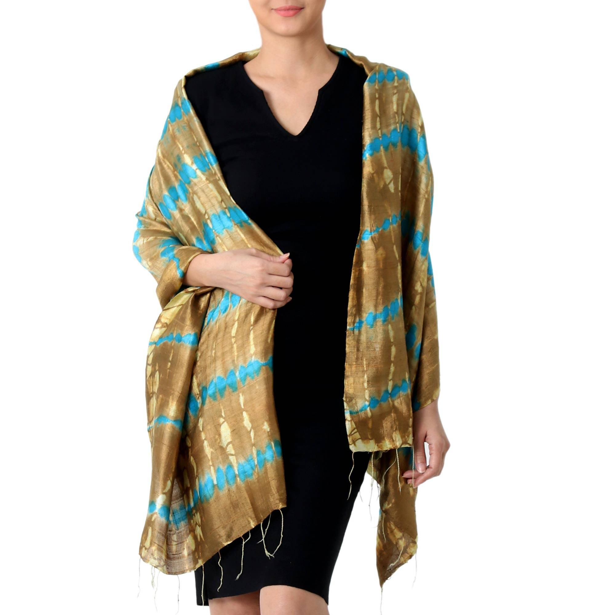 112268747a9b Tie-Dyed Silk Shawl in Sand and Cyan Stripes from Thailand,