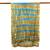 Silk shawl, 'Shifting Sands' - Tie-Dyed Silk Shawl in Sand and Cyan Stripes from Thailand (image 2d) thumbail