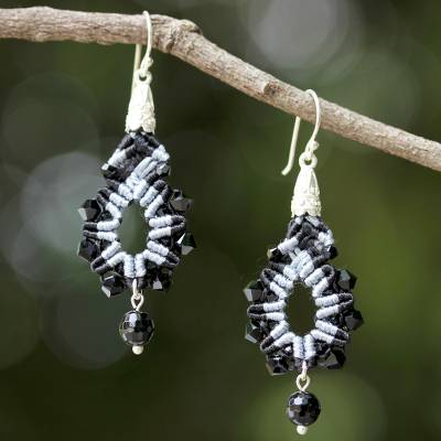 Beaded silk dangle earrings, 'Sparkling Lilies in Black' - Silk Glass Bead Dangle Earrings in Black and White Thailand