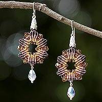 Beaded silk dangle earrings, 'Sparkling Rosettes in Brown' - Silk and Glass Beaded Dangle Earrings in Brown from Thailand