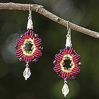 Beaded silk dangle earrings, 'Sparkling Rosettes in Maroon' - Silk and Glass Beaded Dangle Earrings in Maroon Thailand