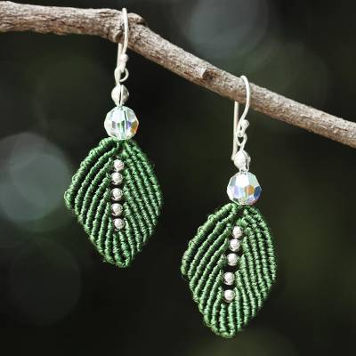 Beaded silk dangle earrings, 'Sparkling Leaves in Olive' - Silk and Glass Beaded Dangle Earrings in Olive from Thailand
