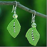 Beaded silk dangle earrings, 'Sparkling Leaves in Lime' - Silk and Glass Bead Dangle Earrings in Lime from Thailand