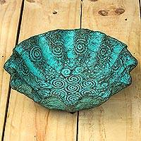 Recycled decorative centerpiece, 'The Sea In Bloom' - Thai Seashell Patterned Turquoise Decorative Centerpiece
