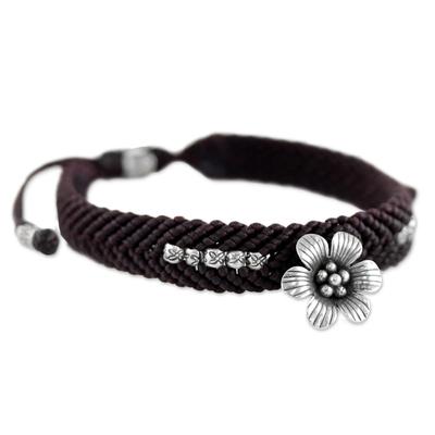 Hand Made Brown Braided Bracelet with Karen Silver Flower