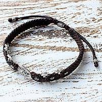 Silver beaded macrame bracelet, 'Little Fish in Brown' - Brown Braided Bracelet with Silver Fish from Thailand