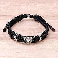 Silver beaded macrame bracelet, 'Little Fish in Black'