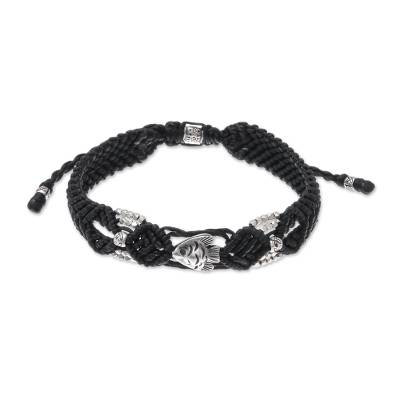 Silver beaded macrame bracelet, 'Little Fish in Black' - Hand Made Black Braided Bracelet with Silver Fish