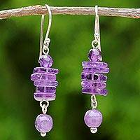 Amethyst dangle earrings, 'Purple Monoliths' - Amethyst and Sterling Silver Dangle Earrings from Thailand