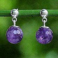 Amethyst dangle earrings, 'Romantic Night'