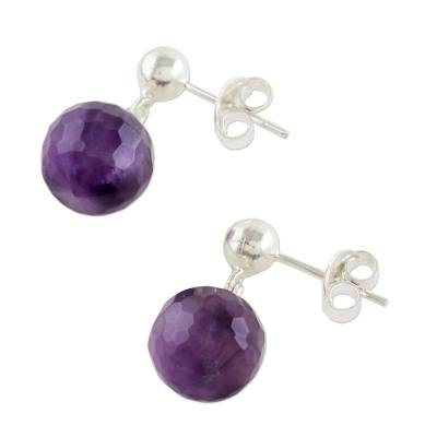 Amethyst dangle earrings, 'Romantic Night' - Faceted Amethyst Sterling Silver Dangle Earrings Thailand