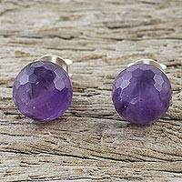 Amethyst stud earrings, 'Magical Orbs' - Sterling Silver and Amethyst Stud Earrings from Thailand