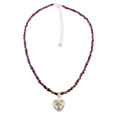 Silver and garnet pendant necklace, 'Fiery Heart' - Garnet and Silver Beaded Pendant Necklace from Thailand