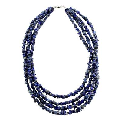 Lapis lazuli beaded necklace, 'Exotic Waters' - Artisan Crafted Lapis Lazuli Beaded Necklace from Thailand