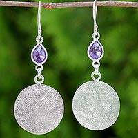 Amethyst dangle earrings, 'Moonlight Teardrops in Purple' - Sterling Silver Teardrop Amethyst Dangle Earrings