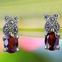 Garnet and marcasite drop earrings, 'Glistening Rose' - Garnet and Marcasite Drop Earrings from Thailand