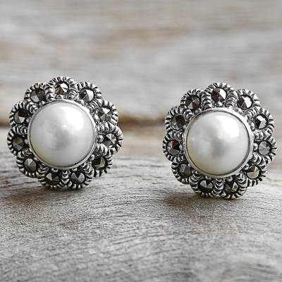 Cultured pearl and marcasite stud earrings, 'Cotton Buds' - Cultured Pearl Marcasite Stud Earrings from Thailand