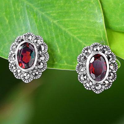 Garnet and marcasite stud earrings, 'Red Lotus Flowers' - Garnet and Marcasite Stud Earrings from Thailand
