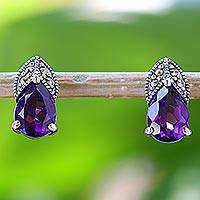 Amethyst and marcasite drop earrings, 'Glistening Purple' - Amethyst and Marcasite Drop Earrings from Thailand