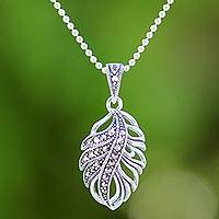 Marcasite pendant necklace, 'Sparkling Leaf' - Marcasite and Sterling Silver Leaf Pendant Necklace