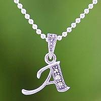 Marcasite pendant necklace, 'Silver Letter A' - Marcasite and Sterling Silver Letter A Pendant Necklace