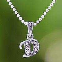 Marcasite pendant necklace, 'Silver Letter D' - Marcasite and Sterling Silver Letter D Pendant Necklace