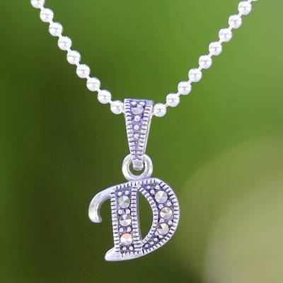 Marcasite and sterling silver letter d pendant necklace silver marcasite pendant necklace silver letter d marcasite and sterling silver letter d aloadofball Images