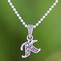 Marcasite pendant necklace, 'Silver Letter K' - Marcasite and Sterling Silver Letter K Pendant Necklace