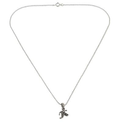 Marcasite pendant necklace, 'Silver Letter K' - Marcasite and Sterling Silver Letter K Pendant Necklace