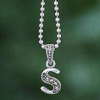 Marcasite pendant necklace, 'Silver Letter S' - Marcasite and Sterling Silver Letter S Pendant Necklace